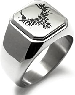 Stainless Steel Iconic Rising Phoenix Blaze Square Flat Top Biker Style Polished Ring