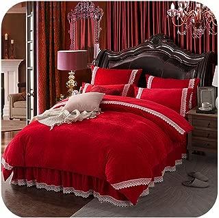 MUZIBLUE Flannel Fleece Bedding Set Cashmere Sheet Pillowcase Duvet Cover Set Camel Fleece lace Thicken Warm Ruffles Bed Linen Set,red Bed Set,Super King,Bed Skirt Sheet Set