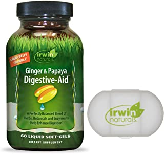 Irwin Naturals Ginger & Papaya Digestive-Aid Blend of Herbs, Botanicals and Enzymes for Digestion Support - 60 Liquid Soft...