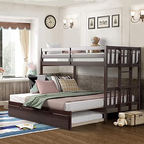 popular Giantex Twin Over Pull-Out Bunk Bed with Trundle, Solid Wood Bunk Bed high quality with Ladder, Extendable Twin/Full/Queen/King Beds with Safety Rail, new arrival Bunk Beds for Kids Teens (Espresso) outlet sale