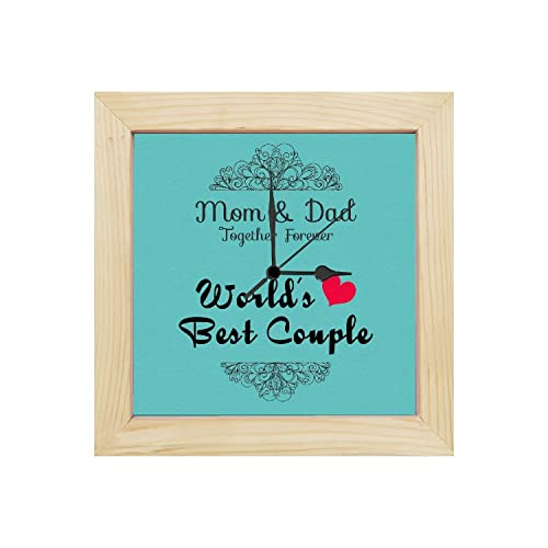 Yaya Cafe for Parents, Worlds Best Mom Dad Couple Canvas Desk Clock - 6x6 inches