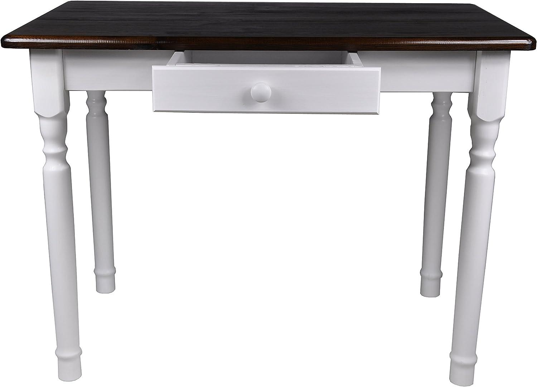 Esstisch mit Schublade Küchentisch Tisch Massiv Kiefer Speisetisch massiv (70x110 cm, Nussbaum)