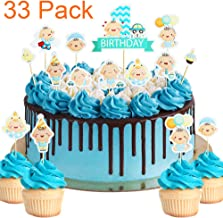 33 Pack Little Baby It's a Boy Blue Cupcake Toppers For Baby Shower 1st month/year Birthday Cake Fruit Doughnut Biscuits Party Toothpick Decorations.