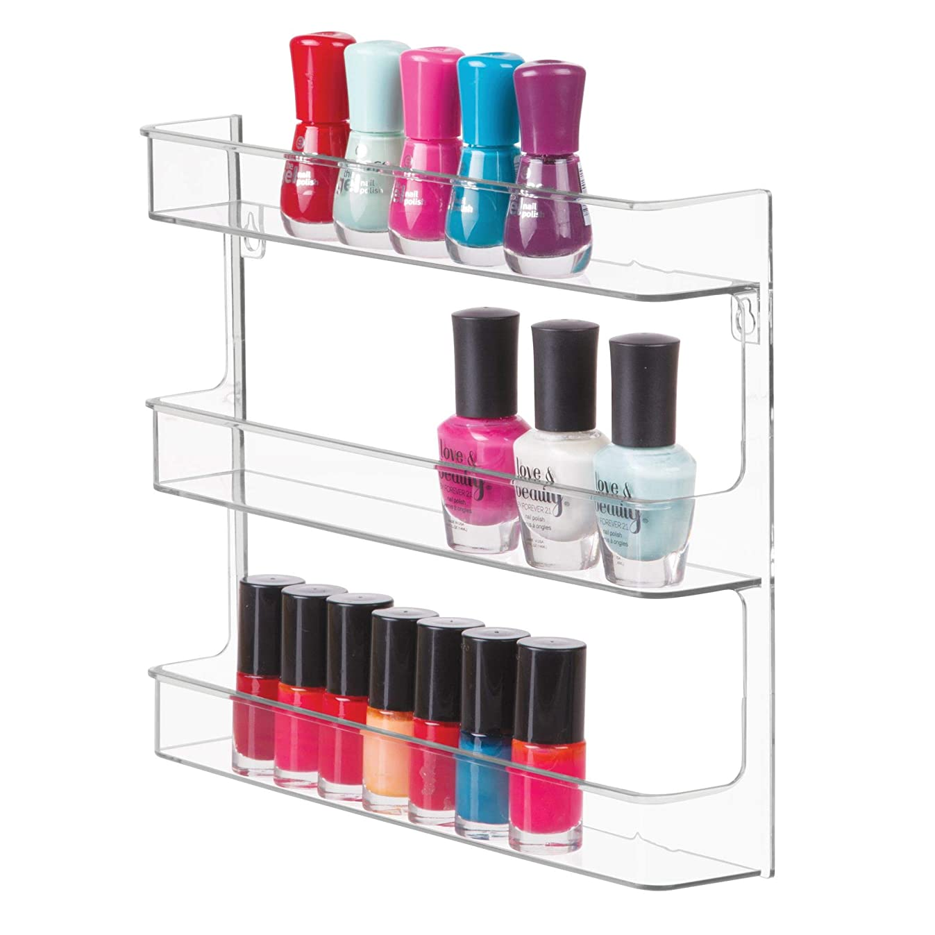 InterDesign Clarity Wall Mount Nail Polish Storage Rack with 3 Shelves for Bathroom, Vanity, Closet, Bedroom, Clear