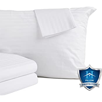 Queen Size Pack of 2 Canadian Linen Pillow Protector Zippered Soft Breathable Hypoallergenic Cover