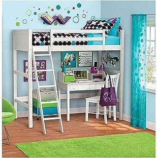 Unbranded* Twin Bunk Loft Bed over Desk with Ladder Kids Teen Bedroom White Wood Furniture