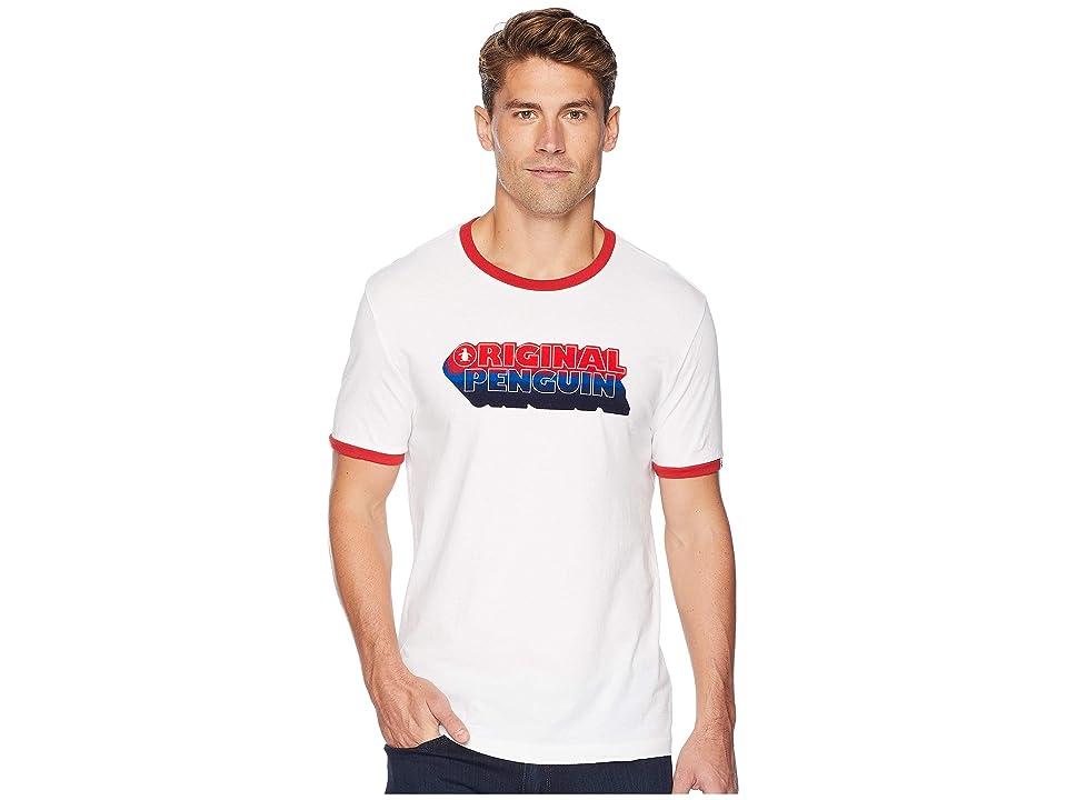 Men's Vintage Style Shirts Original Penguin Original Drop Shadow Ringer T-Shirt Bright White Mens T Shirt $39.00 AT vintagedancer.com