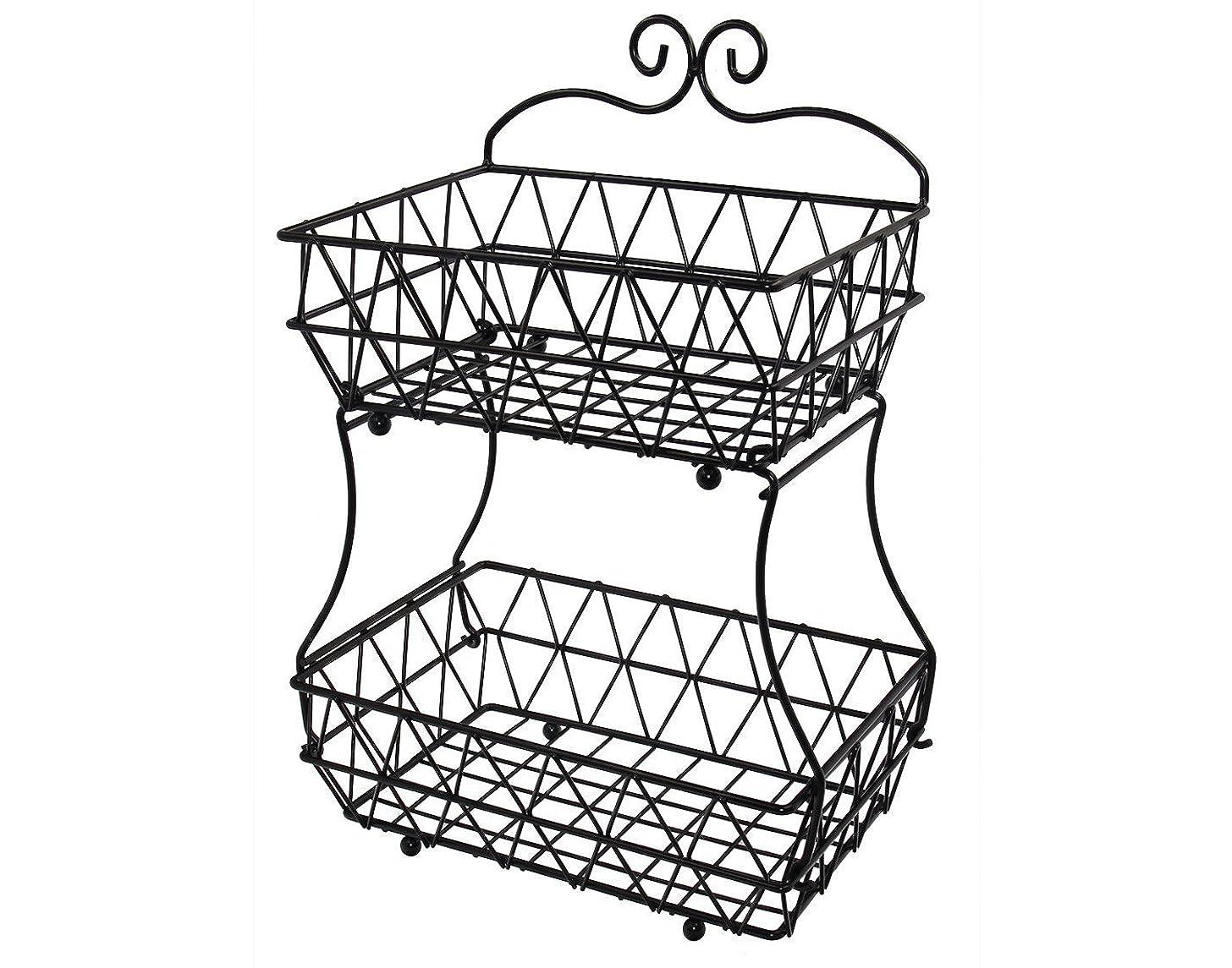 ESYLIFE Upgraded Version 2 Tier Fruit Bread Basket Display Stand - Screws Free Design