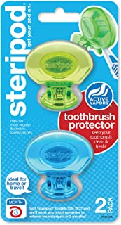 Steripod Clip-On Toothbrush Protector, Green and Blue, 2 Count