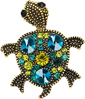 SCASTOE Tortoise Brooch, Rhinestone Sea Turtle Brooch for Christmas Party