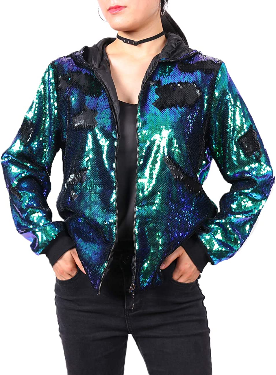 A ARFAR Women Sequin Jackets Bomber Hoodie Coat Flip Virginia Under blast sales Beach Mall Jack