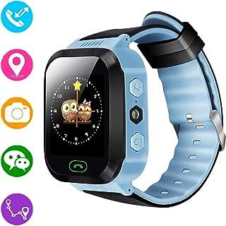 Reloj inteligente para niños, rastreador GPS para niños niñas niños verano al aire libre cumpleaños con cámara SIM llamadas anti-pérdida SOS Smartwatch pulsera para iPhone Android Smartphone (Azul)