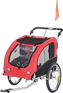 PawHut 2-in-1 Pet Jogging Stroller Dog Cat Bike Bicycle Trailer Carrier w/Drawbar Hitch Brake Black/Red (5663-1289)