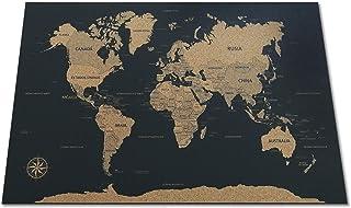 Mapa Del Mundo En Corcho. Negro 90x60cm ¡Decora, Inspírate Y Viaja!