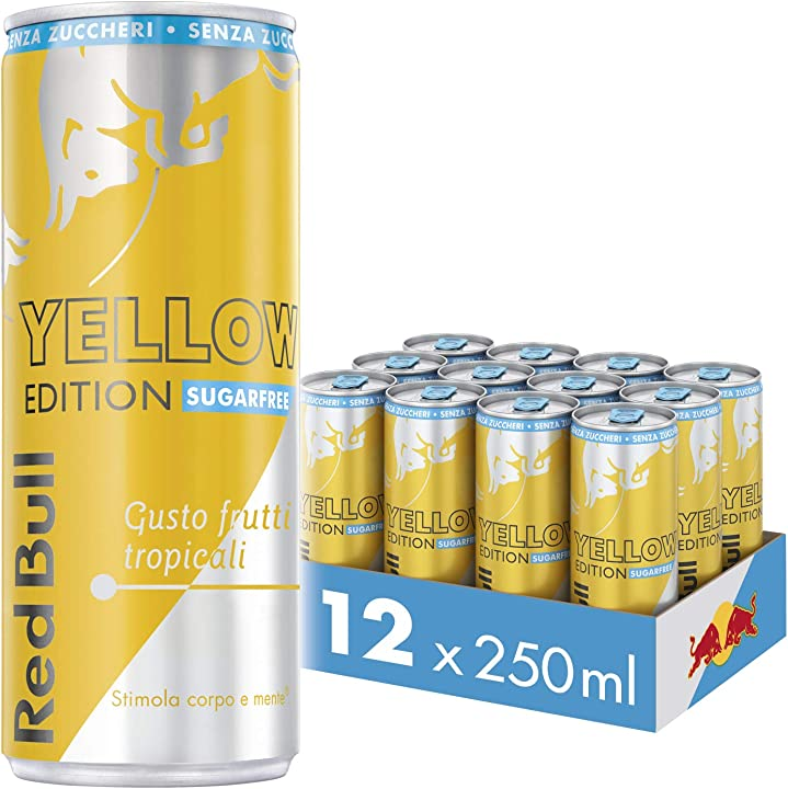 Red bull energy drink senza zuccheri gusto frutti tropicali, 12 lattine da 250 ml B01FDLU6EU