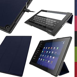 igadgitz Azul Funda Eco Piel para Sony Xperia Z2 10.1 Tablet SGP511 SGP521 SGP512 con Reposo/ Activación + Protector Pantalla