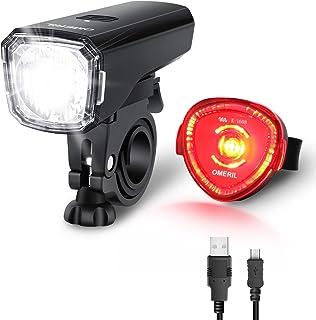 OMERIL LED Fahrradlicht Set Fahrradbeleuchtung STVZO Zugelassen Fahrradlampe USB Aufladbar und Wasserdicht Fahrrad Licht mit Frontlicht und Rücklicht Rotlicht. Sturdy & Duragable