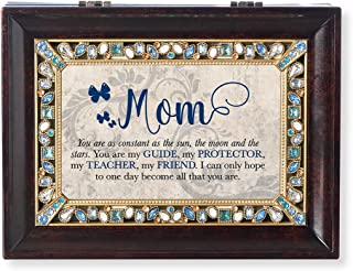 Roman Music Boxes - Mom You are Burled Wood Finish with Pearl Jeweled Insert Music Box - Plays Clair De Lune