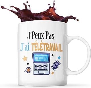 Mug Life Mug Cadeau Humoristique « J'Peux Pas, J'ai Télétravail»   Résistant au Lave-Vaisselle et Micro-Ondes   Hauteur : ...