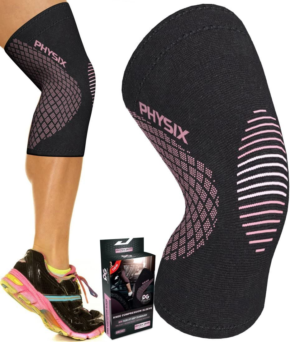 Physix Gear Knee Support Brace - Premium Recovery & Compression Sleeve for Meniscus Tear, ACL, MCL Running & Arthritis - Best Stabilizer Wrap for Crossfit, Squats & Workouts - for Men & Women