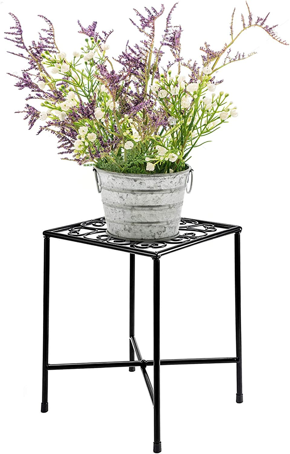 1Pcs Metal Plant Stand, Elegantly Designed Art Iron Flower Stand for Decor Plant Corner, Durable Rust-Resistant Black Modern Plant Stand for Home Garden Display Greenery - Easy Assembly