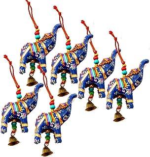 Rastogi صنایع دستی فیل حلق آویز لایه ای از 6 خانه تزئینات تزئینی آویز کریسمس چند رنگ سنتی هندی (آبی)