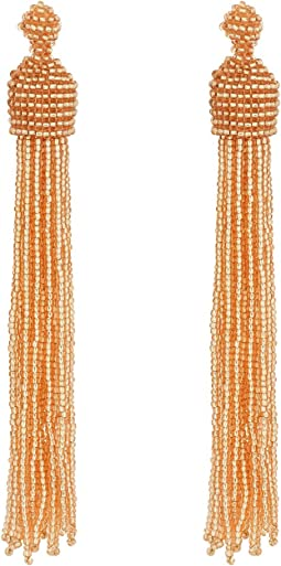 Champagne Bead Tassel Direct Post Ear Earrings