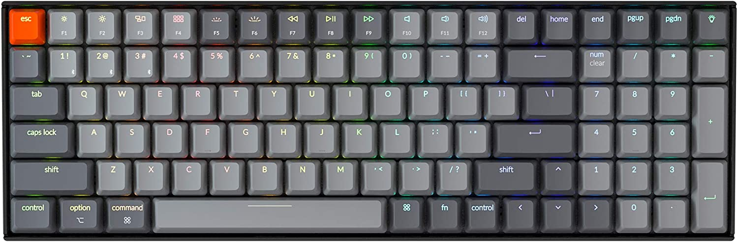 Keychron K4 Hot Swappable Mechanical Gaming Keyboard RGB Backlit, Compact 96% Layout Wireless Bluetooth 5.1/Wired USB C Computer Keyboard for Mac Windows PC Gamer, Gateron Blue Switch - Version 2