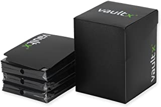 Vault X Deck Box and 150 Black Card Sleeves - Large Size for 120-130 Sleeved Cards - PVC Free Card Holder for TCG (Black)