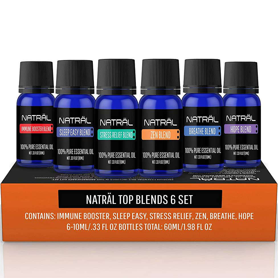 NATR?L Top Blends Set of 6, 100% Pure and Natural Essential Oil, 6/10ml Bottles