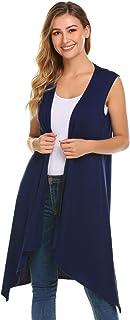 Grabsa Women's Casual Open Front Sleeveless Long Asymmetric Hem Cardigan