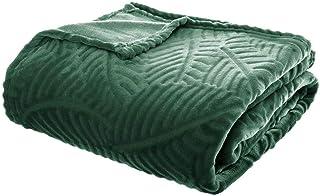 Atmosphera - Plaid Vert Motif Feuille en Relief 220x240 Colonial