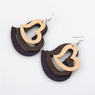 Women Earings Wood Earrings Jewelry Blue Pink Statement Heart Earrings Women Pendientes