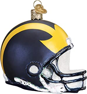 Old World Christmas Glass Blown Ornament with S-Hook and Gift Box, College Football Helmet Collection (Michigan)