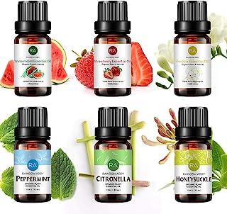 RAINBOW ABBY 6-Pack Orangic 100% Pure Essential Oil Set (Peppermint, Watermelon, Strawberry, Freesia, Citro...