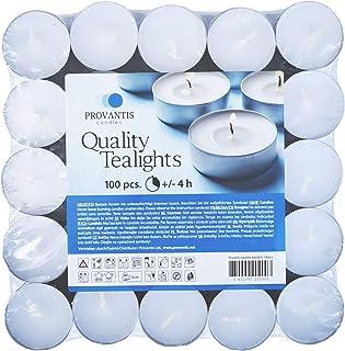 comprar comparacion Provantis Velas de Té Tealights - 38 mm - Paquete de 100 piezas - 4 horas de tiempo de combustión - Color Blanco - Cera si...