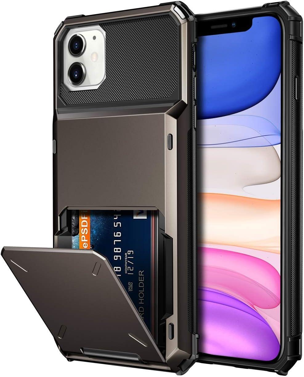 Vofolen Case for iPhone 11 Case Wallet 4-Card Holder ID Slot Flip Door Hidden Pocket Anti-Scratch Dual Layer Hybrid TPU Bumper Armor Protective Hard Shell Back Cover for iPhone 11 6.1 inch Gun Metal