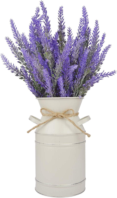 LESEN Farmhouse Decorative Vase Super intense SALE with Artificial OFFicial shop Flowers Lavender