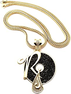 New Iced Out RUFF RYDERS R Pendant 4mm/&36 Franco Chain Hip Hop Necklace XP860RRD