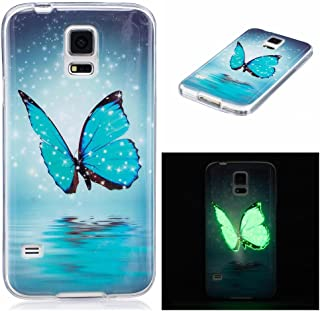 FIREFISH Galaxy S5 Case, Luminous Effect TPU Soft Case Ultra Thin Anti-Bump Shell Glow in The Dark Fluorescent Cover for Samsung Galaxy S5-Feather
