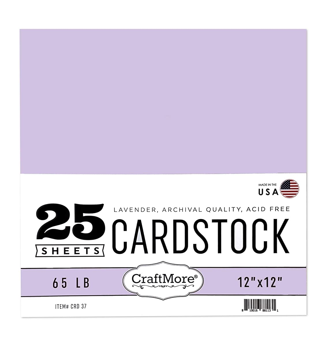 CraftMore Card Stock Paper Lavender 12x12 Inch 25 Sheets