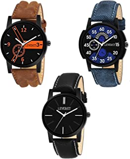LEVERET Pack of 3 Multicolour Analog Watch for Men and Boys