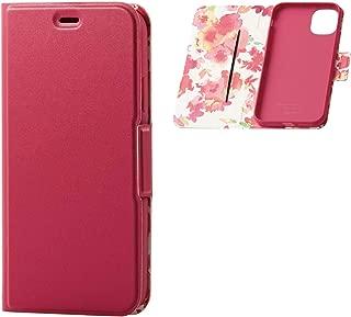 エレコム iPhone 11 ケース ソフトレザー 薄型 軽量 [華やかで美しい花柄] マグネットタイプ ディープピンク PM-A19CPLFUJPND