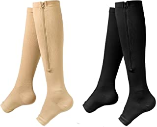 Zipper Compression Socks - 2Pairs Calf Knee High Stocking - Open Toe Compression Socks for Walking,Runnng,Hiking and Sports Use (C- BLACK/NUDE, L/XL)