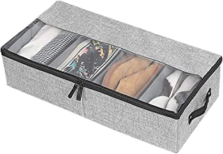 Aoolife Clothes Shoes Organizer Multifunction Foldable Under The Bed Storage Box (Grey)