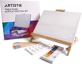 Desk Easel with Acrylic Paints - Table Top Adjustable Wooden Desktop Easel, 12 Tubes, Canvas, Paintbrushes & Palette for Painting, Sketching and Drawing Supplies