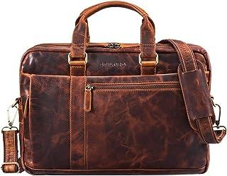 """STILORD Nico"""" Vintage Umhängetasche Leder Herren Damen 15,6 Zoll Laptoptasche groß Aktentasche Arbeit Büro Uni echtes Rindsleder"""