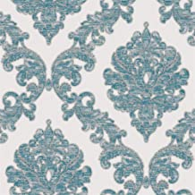 JZ·HOME 2164 Luxury Damask Wallpaper Rolls, Milky White/Rust Blue Embossed Texture Victorian Wall Paper Home Bedroom Living Room Hotels Wall Decoration 20.8