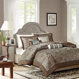 Luxury Duvet Cover Bedding Set in Brown & Blue Paisley Design - 6 Piece, Queen Size