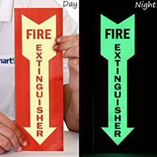 """SmartSign """"Fire Extinguisher"""" Label with Downward Arrow 